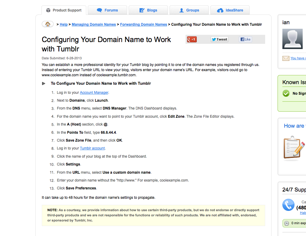 tumblr custom domains